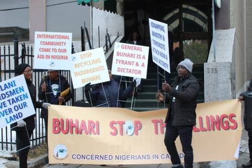 Nigerians In Canada Protest Against Buhari Government Over Insecurity