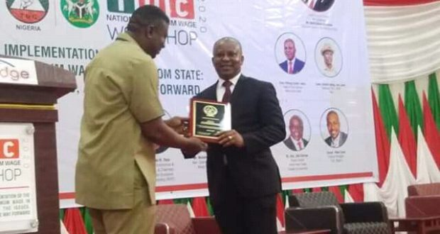 Gov. Udom Bags TUC Excellence Award  …..As Union ends workshop on National minimum wage.