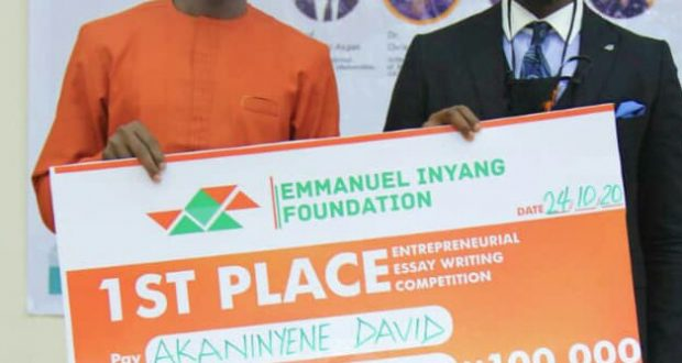 Youths Charged to embrace entrepreneurship for Wealth Creation …as Inyang's foundation ends, maiden edition of  Akwa Ibom Entrepreneurship conference in Uyo, With cash prizes presented to winners of his essay competition