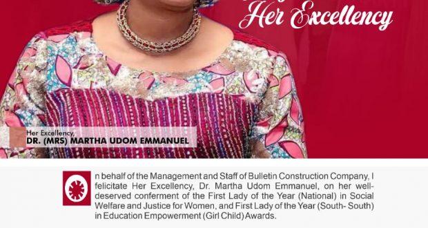 Bulletin Construction Company Felicitates Governor's Wife